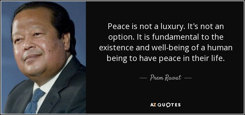 Peace is not a luxury. It's not an option. It is fundamental to the existence and well-being of a human being to have peace in their life. - Prem Rawat