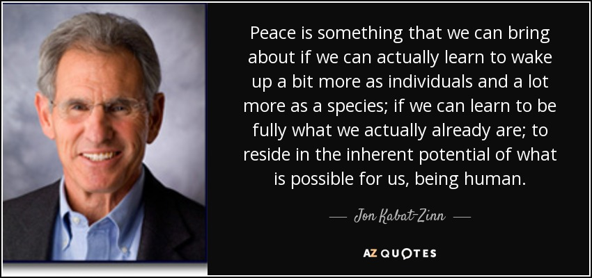 Jon Kabat Zinn Quote Peace Is Something That We Can Bring About If