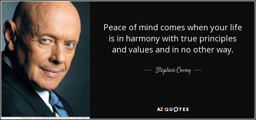 Peace of mind comes when your life is in harmony with true principles and values and in no other way. - Stephen Covey