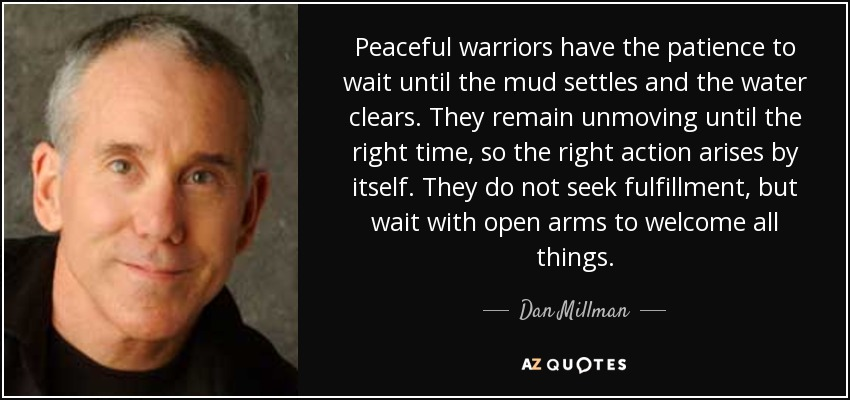 Peaceful warriors have the patience to wait until the mud settles and the water clears. They remain unmoving until the right time, so the right action arises by itself. They do not seek fulfillment, but wait with open arms to welcome all things. - Dan Millman