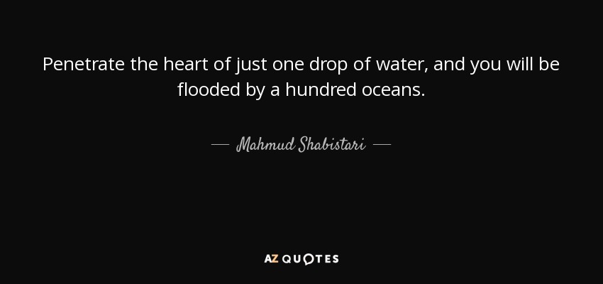 Mahmud Shabistari Quote Penetrate The Heart Of Just One Drop Of
