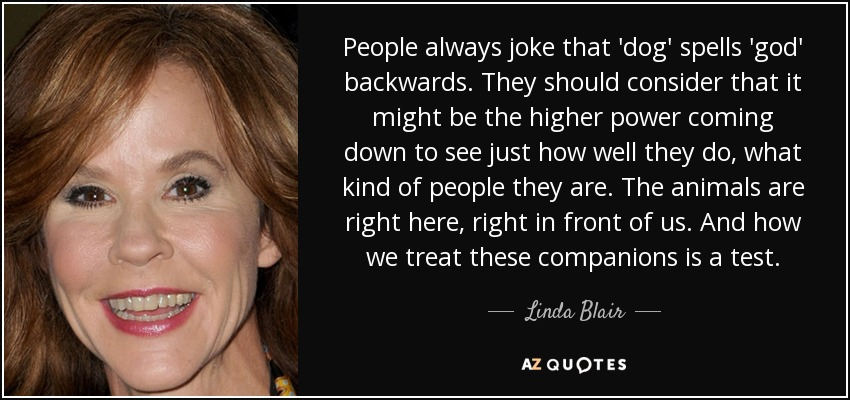 People always joke that 'dog' spells 'god' backwards. They should consider that it might be the higher power coming down to see just how well they do, what kind of people they are. The animals are right here, right in front of us. And how we treat these companions is a test. - Linda Blair