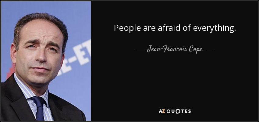 People are afraid of everything. - Jean-Francois Cope