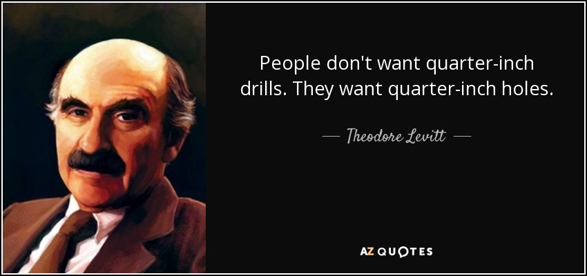 People don't want quarter-inch drills. They want quarter-inch holes. - Theodore Levitt