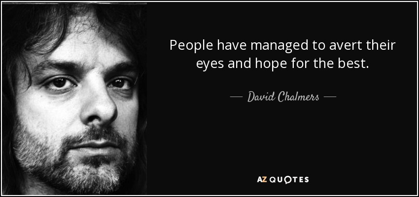 People have managed to avert their eyes and hope for the best. - David Chalmers