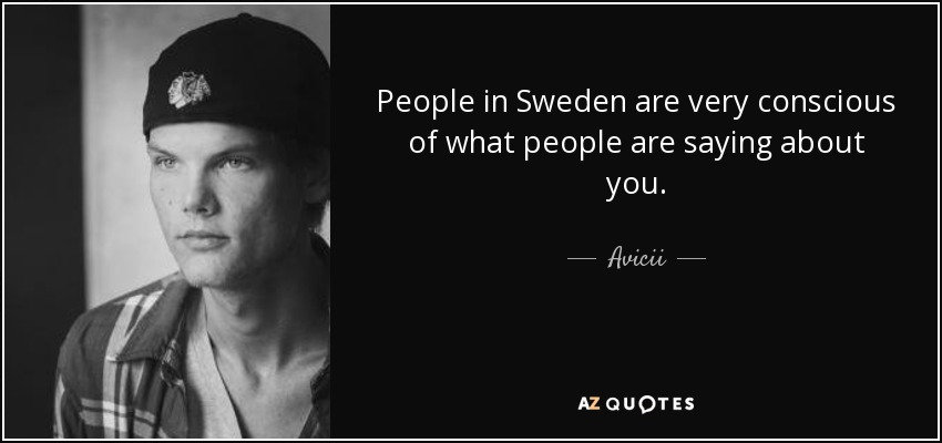 People in Sweden are very conscious of what people are saying about you. - Avicii