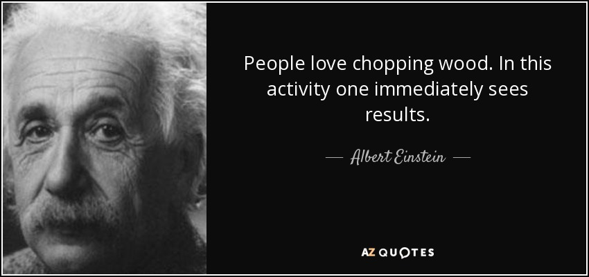 People love chopping wood. In this activity one immediately sees results. - Albert Einstein