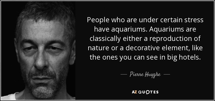 People who are under certain stress have aquariums. Aquariums are classically either a reproduction of nature or a decorative element, like the ones you can see in big hotels. - Pierre Huyghe