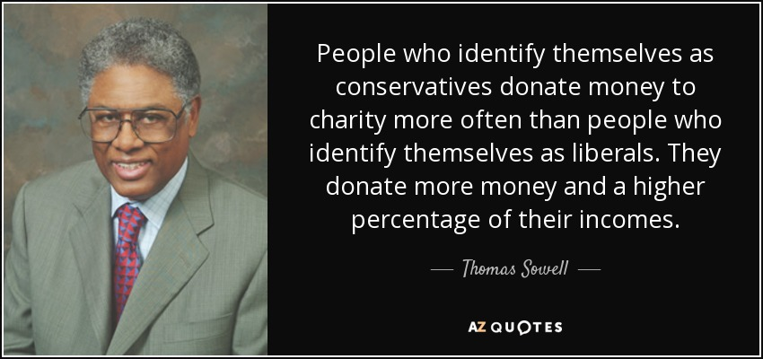 People who identify themselves as conservatives donate money to charity more often than people who identify themselves as liberals. They donate more money and a higher percentage of their incomes. - Thomas Sowell