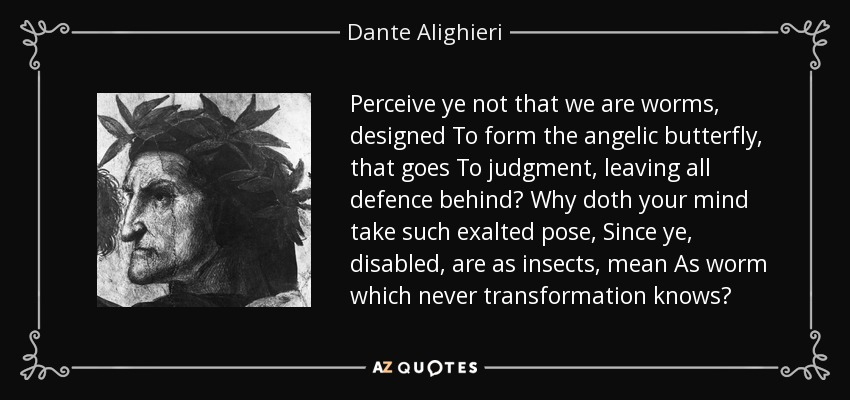 Perceive ye not that we are worms, designed To form the angelic butterfly, that goes To judgment, leaving all defence behind? Why doth your mind take such exalted pose, Since ye, disabled, are as insects, mean As worm which never transformation knows? - Dante Alighieri