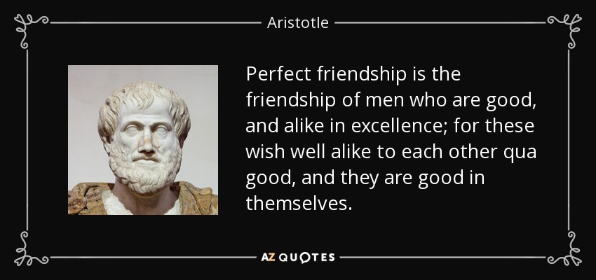 Perfect friendship is the friendship of men who are good, and alike in excellence; for these wish well alike to each other qua good, and they are good in themselves. - Aristotle