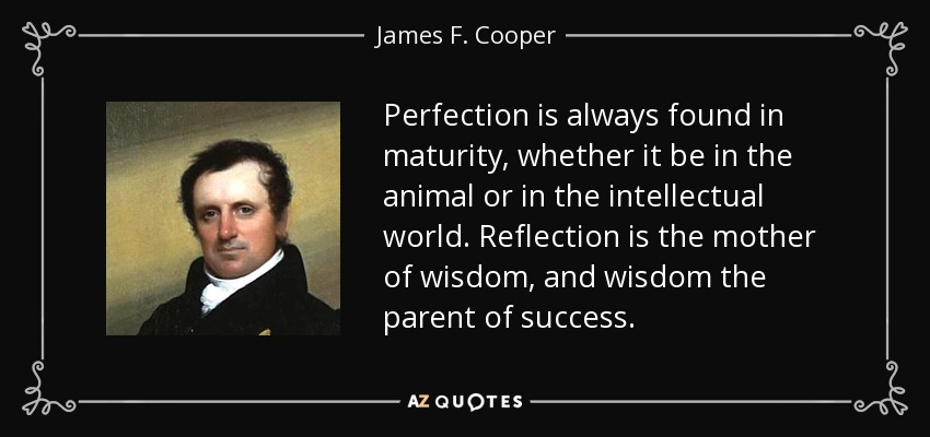 Perfection is always found in maturity, whether it be in the animal or in the intellectual world. Reflection is the mother of wisdom, and wisdom the parent of success. - James F. Cooper