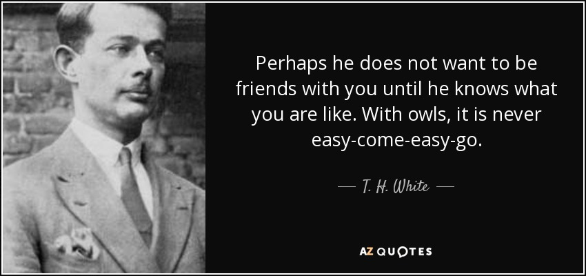 Perhaps he does not want to be friends with you until he knows what you are like. With owls, it is never easy-come-easy-go. - T. H. White