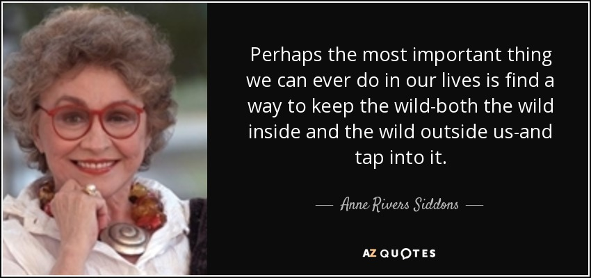 Perhaps the most important thing we can ever do in our lives is find a way to keep the wild-both the wild inside and the wild outside us-and tap into it. - Anne Rivers Siddons