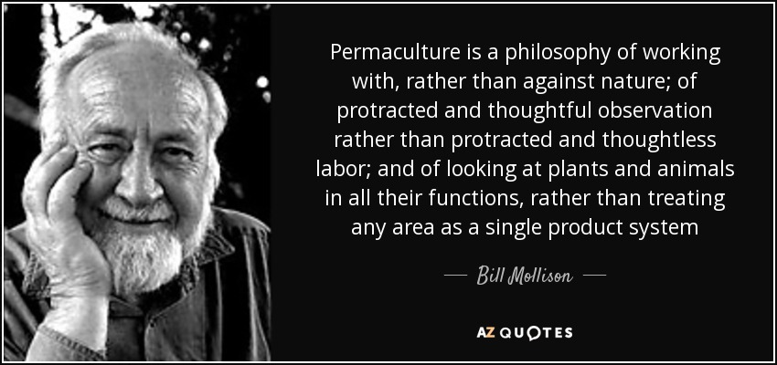 Permaculture is a philosophy of working with, rather than against nature; of protracted and thoughtful observation rather than protracted and thoughtless labor; and of looking at plants and animals in all their functions, rather than treating any area as a single product system - Bill Mollison
