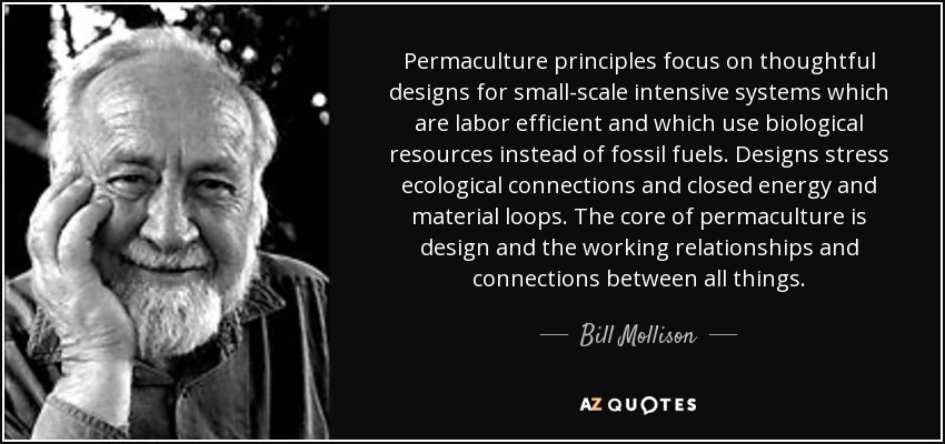 Permaculture principles focus on thoughtful designs for small-scale intensive systems which are labor efficient and which use biological resources instead of fossil fuels. Designs stress ecological connections and closed energy and material loops. The core of permaculture is design and the working relationships and connections between all things. - Bill Mollison