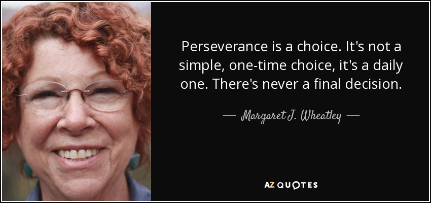 Perseverance is a choice. It's not a simple, one-time choice, it's a daily one. There's never a final decision. - Margaret J. Wheatley