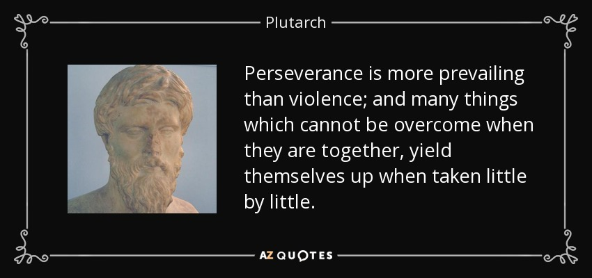 Perseverance is more prevailing than violence; and many things which cannot be overcome when they are together, yield themselves up when taken little by little. - Plutarch