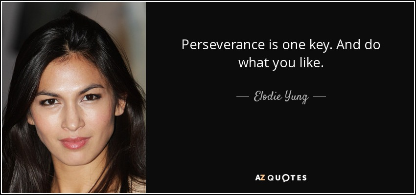 Perseverance is one key. And do what you like. - Elodie Yung