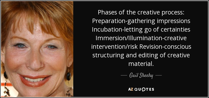 Phases of the creative process: Preparation-gathering impressions Incubation-letting go of certainties Immersion/Illumination-creative intervention/risk Revision-conscious structuring and editing of creative material. - Gail Sheehy