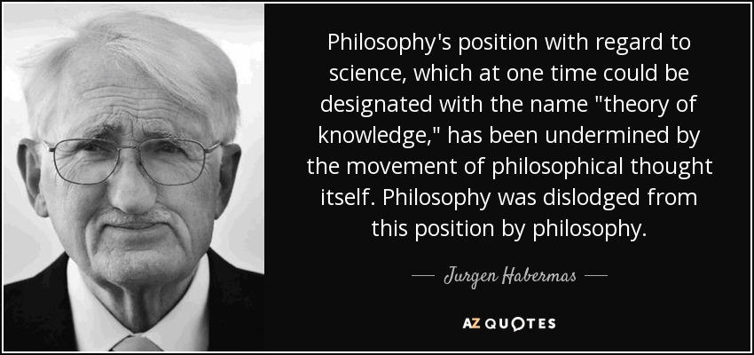 Philosophy's position with regard to science, which at one time could be designated with the name