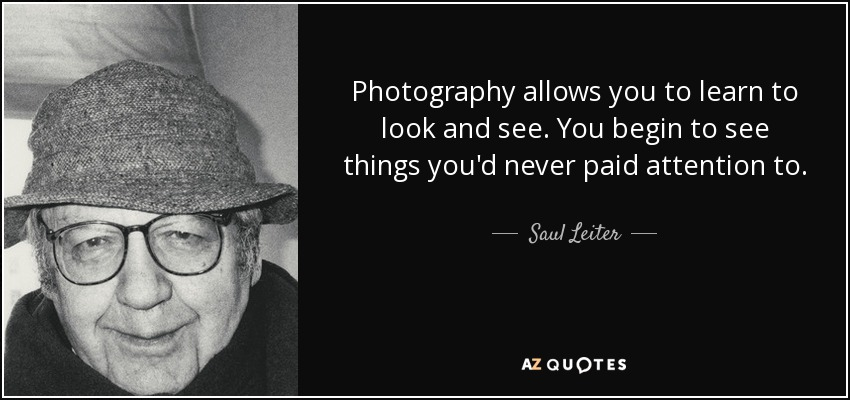 Photography allows you to learn to look and see. You begin to see things you'd never paid attention to. - Saul Leiter