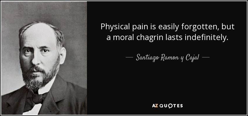 Physical pain is easily forgotten, but a moral chagrin lasts indefinitely. - Santiago Ramon y Cajal
