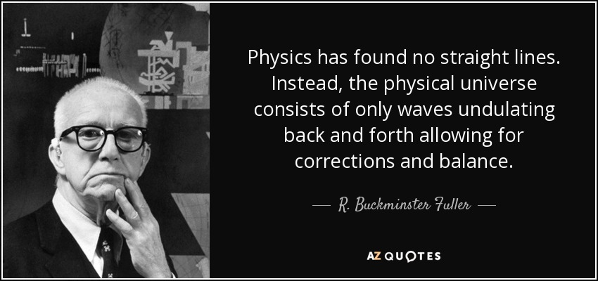 Physics has found no straight lines. Instead, the physical universe consists of only waves undulating back and forth allowing for corrections and balance. - R. Buckminster Fuller