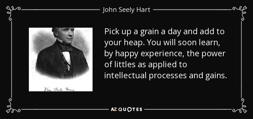 Pick up a grain a day and add to your heap. You will soon learn, by happy experience, the power of littles as applied to intellectual processes and gains. - John Seely Hart