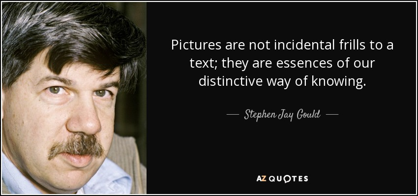 Pictures are not incidental frills to a text; they are essences of our distinctive way of knowing. - Stephen Jay Gould