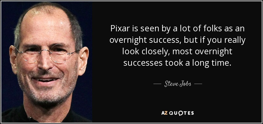 Pixar is seen by a lot of folks as an overnight success, but if you really look closely, most overnight successes took a long time. - Steve Jobs