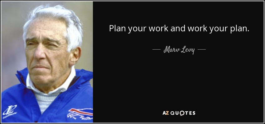 Plan your work and work your plan. - Marv Levy