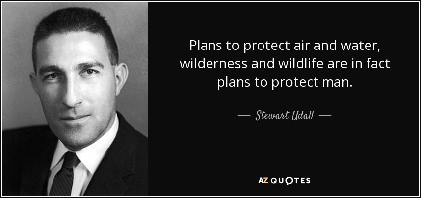 Plans to protect air and water, wilderness and wildlife are in fact plans to protect man. - Stewart Udall