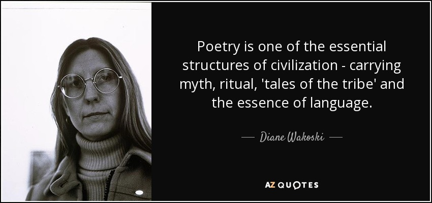 Poetry is one of the essential structures of civilization - carrying myth, ritual, 'tales of the tribe' and the essence of language. - Diane Wakoski