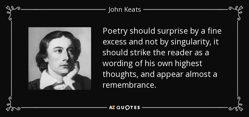 Poetry should surprise by a fine excess and not by singularity, it should strike the reader as a wording of his own highest thoughts, and appear almost a remembrance. - John Keats