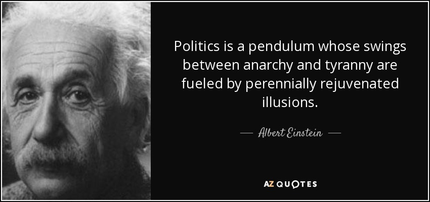 Politics is a pendulum whose swings between anarchy and tyranny are fueled by perennially rejuvenated illusions. - Albert Einstein