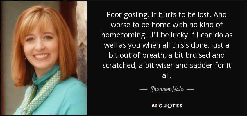 Poor gosling. It hurts to be lost. And worse to be home with no kind of homecoming...I'll be lucky if I can do as well as you when all this's done, just a bit out of breath, a bit bruised and scratched, a bit wiser and sadder for it all. - Shannon Hale