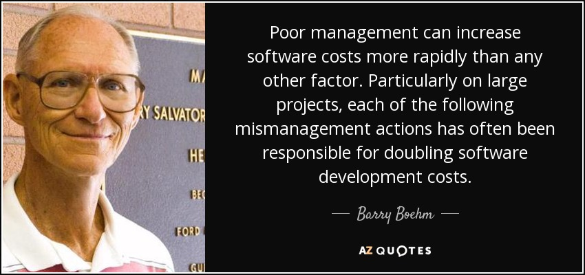 Poor management can increase software costs more rapidly than any other factor. Particularly on large projects, each of the following mismanagement actions has often been responsible for doubling software development costs. - Barry Boehm