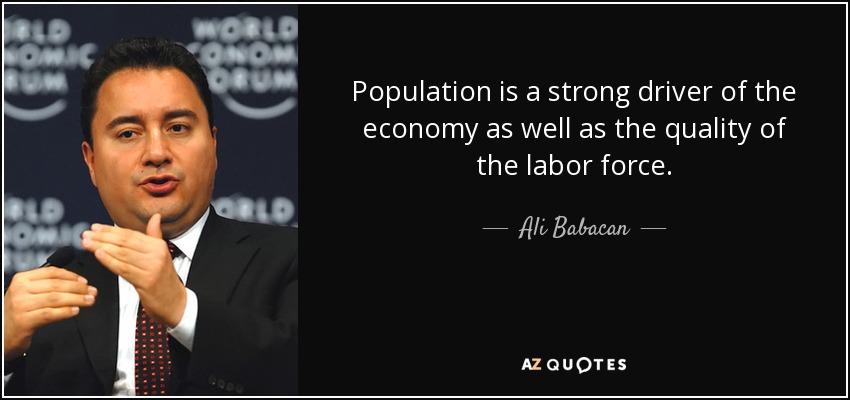 Population is a strong driver of the economy as well as the quality of the labor force. - Ali Babacan