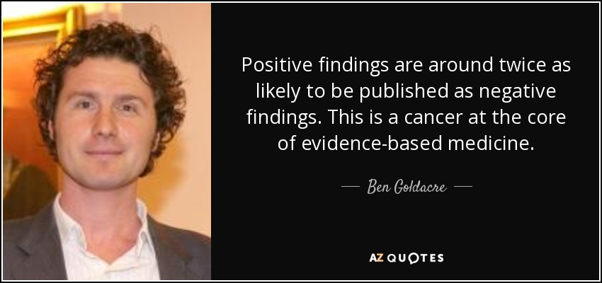 Positive findings are around twice as likely to be published as negative findings. This is a cancer at the core of evidence-based medicine. - Ben Goldacre