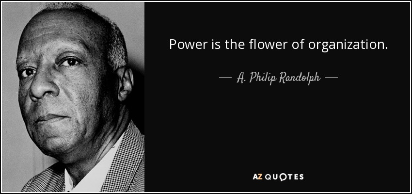 Power is the flower of organization. - A. Philip Randolph