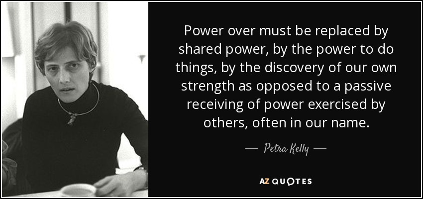 Power over must be replaced by shared power, by the power to do things, by the discovery of our own strength as opposed to a passive receiving of power exercised by others, often in our name. - Petra Kelly