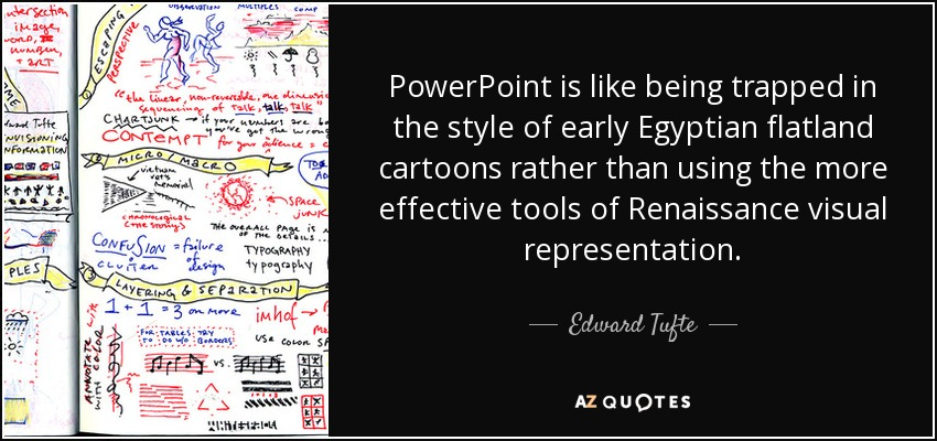 PowerPoint is like being trapped in the style of early Egyptian flatland cartoons rather than using the more effective tools of Renaissance visual representation. - Edward Tufte