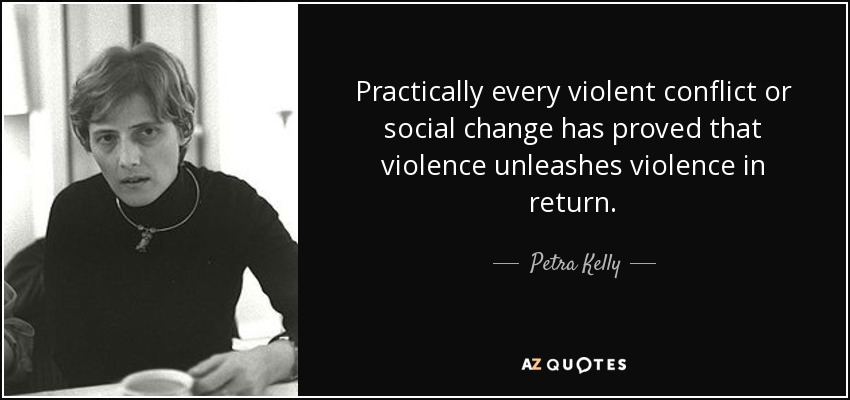 Practically every violent conflict or social change has proved that violence unleashes violence in return. - Petra Kelly