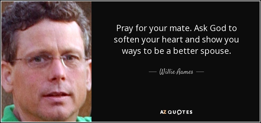 Pray for your mate. Ask God to soften your heart and show you ways to be a better spouse. - Willie Aames