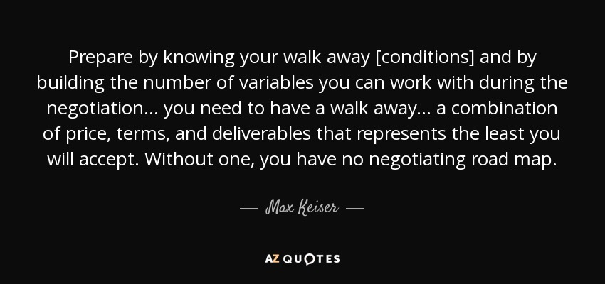 Max Keiser Quote Prepare By Knowing Your Walk Away Conditions And