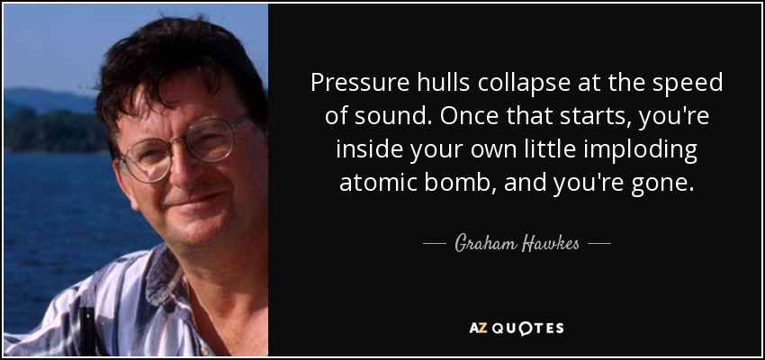 Pressure hulls collapse at the speed of sound. Once that starts, you're inside your own little imploding atomic bomb, and you're gone. - Graham Hawkes