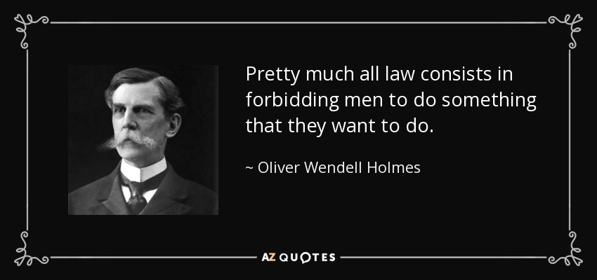 Pretty much all law consists in forbidding men to do something that they want to do. - Oliver Wendell Holmes, Jr.