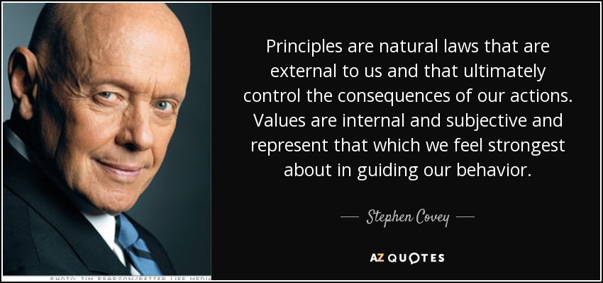 Principles are natural laws that are external to us and that ultimately control the consequences of our actions. Values are internal and subjective and represent that which we feel strongest about in guiding our behavior. - Stephen Covey