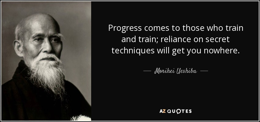 Progress comes to those who train and train; reliance on secret techniques will get you nowhere. - Morihei Ueshiba